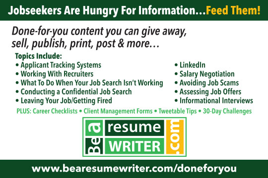 BeAResumeWriter Done For You Content
